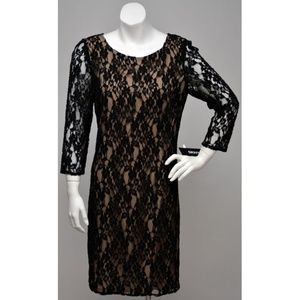 NWT DKNY Black Lace 3/4 Sleeves Occasion Dress 4